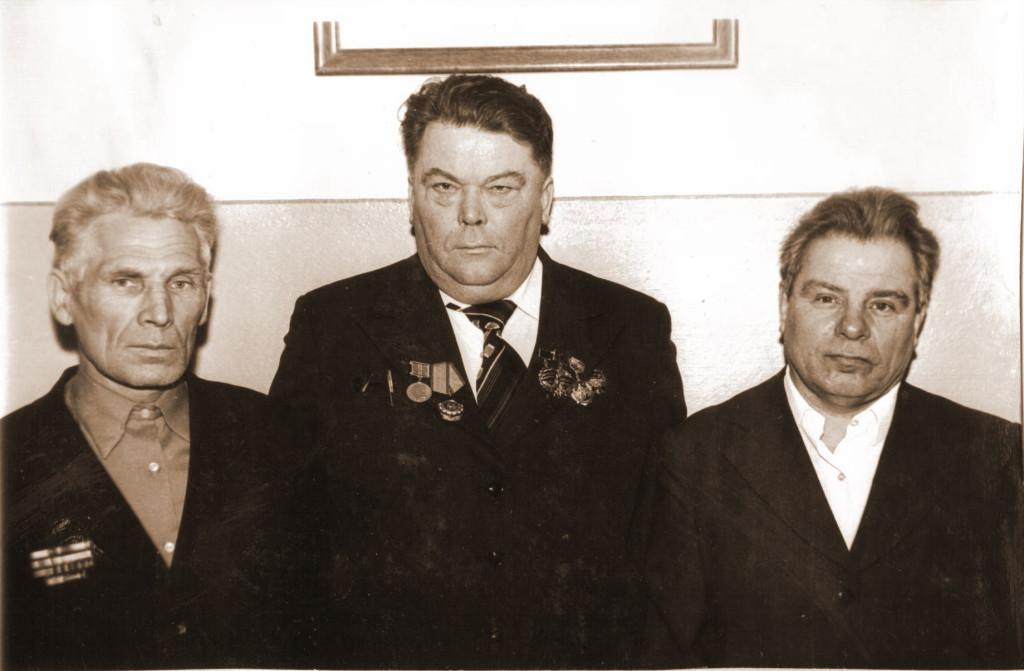 Ветераны труда: Дерягин Павел Егорович (слева), Архипов Алексей Петрович (в центре), Акилов Сергей Митрофанович (справа)