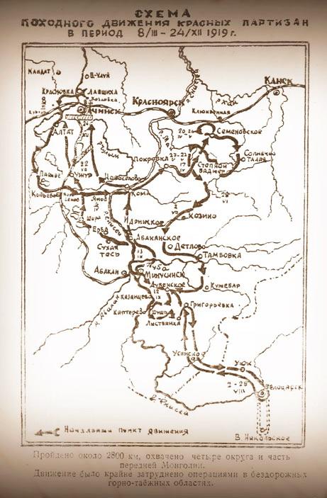 Схема походного жвижения красной армии