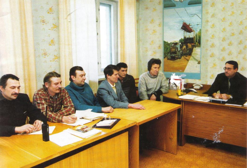 Производственное совещание мастеров под руководством главного инженера ПМС - Царюка С.Ф.